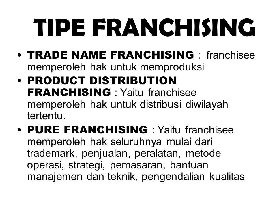 TIPE FRANCHISING •TRADE NAME FRANCHISING : franchisee memperoleh hak untuk memproduksi •PRODUCT DISTRIBUTION FRANCHISING : Yaitu franchisee memperoleh