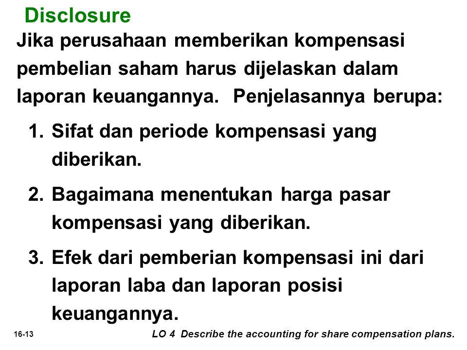 16-13 Disclosure Jika perusahaan memberikan kompensasi pembelian saham harus dijelaskan dalam laporan keuangannya.