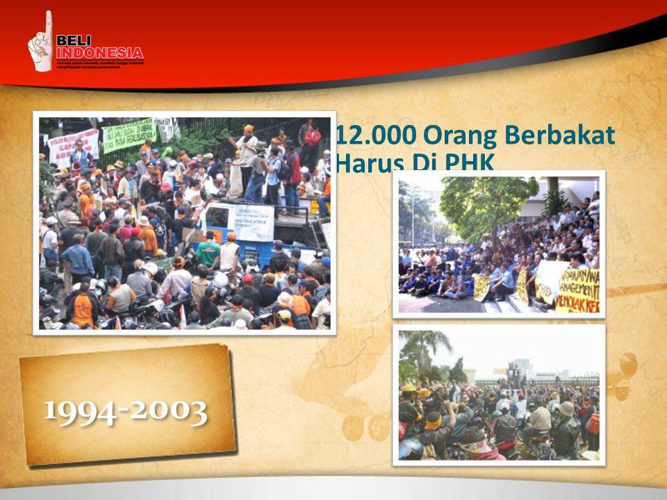 12.000 Orang Berbakat Harus Di PHK 1994-2003