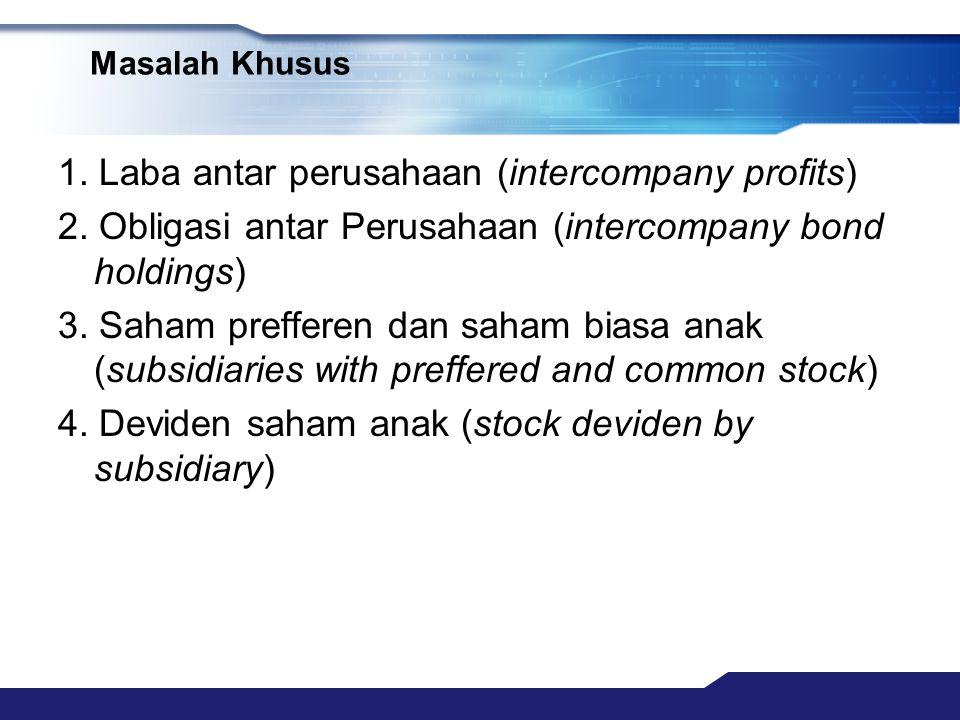 Masalah Khusus 1. Laba antar perusahaan (intercompany profits) 2. Obligasi antar Perusahaan (intercompany bond holdings) 3. Saham prefferen dan saham