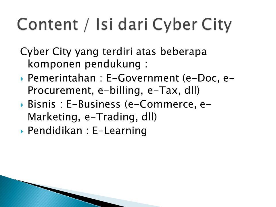 Cyber city dapat berjalan dengan baik, jika telah didukung oleh :  Infrastruktur (hardware),  Aplikasi (software), dan  Pengelola (brainware).
