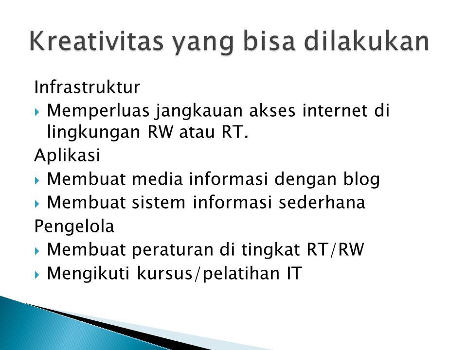 Memperluas jangkauan akses internet disini dapat dilihat dari sumber akses internet:  Menggunakan fasilitas Wifi gratis yang sudah ada di tingkat kecamatan,  Atau menggunakan akses internet berbayar.