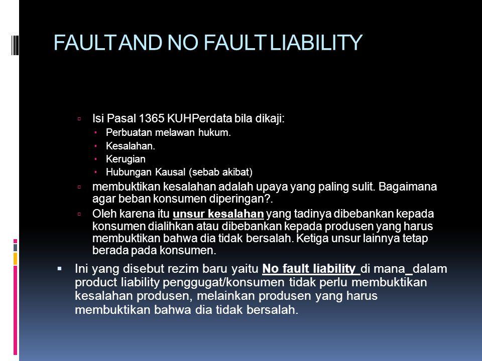 FAULT AND NO FAULT LIABILITY  Isi Pasal 1365 KUHPerdata bila dikaji:  Perbuatan melawan hukum.  Kesalahan.  Kerugian  Hubungan Kausal (sebab akib