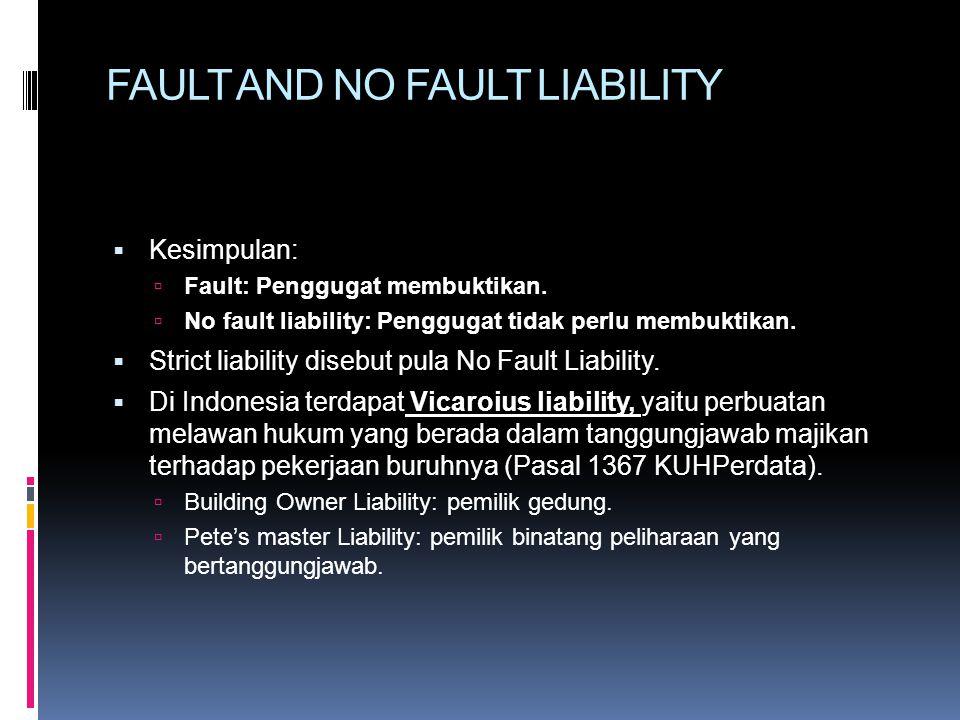 FAULT AND NO FAULT LIABILITY  Kesimpulan:  Fault: Penggugat membuktikan.  No fault liability: Penggugat tidak perlu membuktikan.  Strict liability