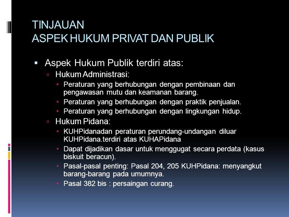 TINJAUAN ASPEK HUKUM PRIVAT DAN PUBLIK  Aspek Hukum Publik terdiri atas:  Hukum Administrasi:  Peraturan yang berhubungan dengan pembinaan dan pengawasan mutu dan keamanan barang.
