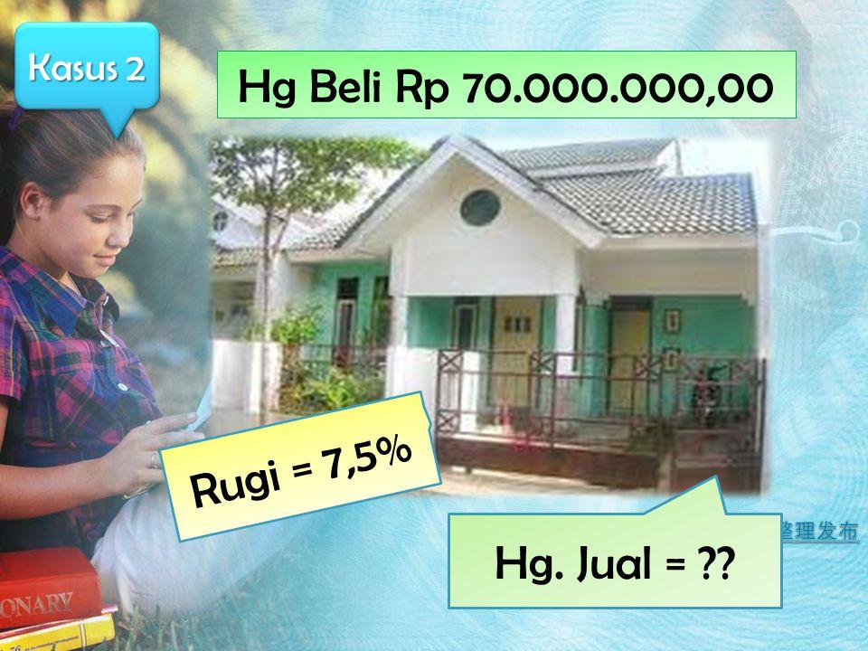 Kasus 2 Hg Beli Rp 70.000.000,00 Rugi = 7,5% Hg. Jual = ??
