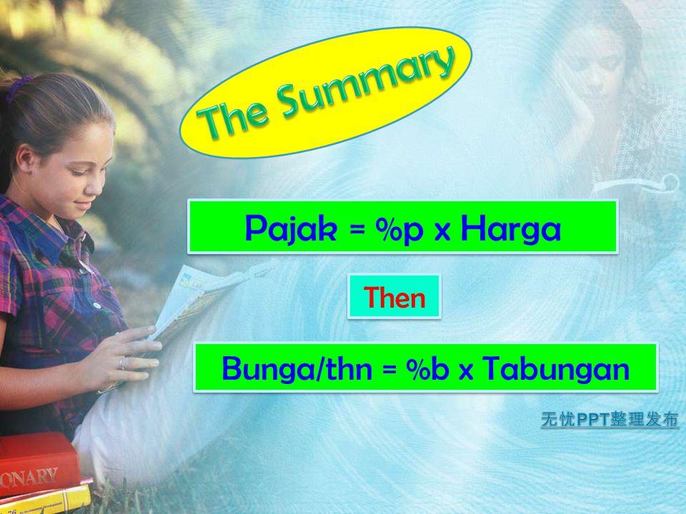 Pajak = %p x Harga Then Bunga/thn = %b x Tabungan