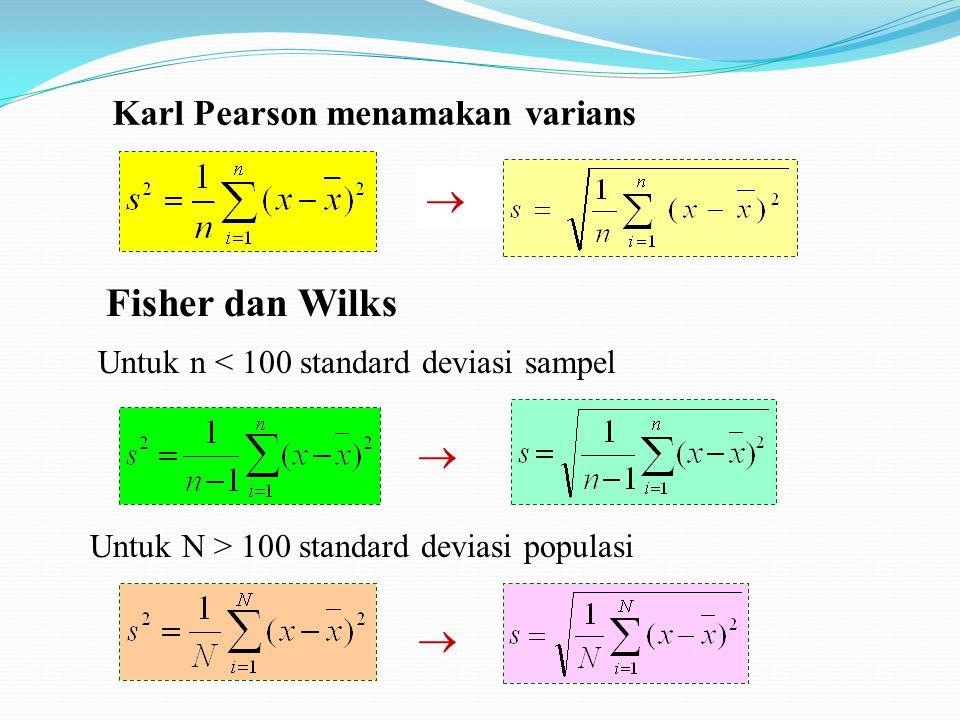 Karl Pearson menamakan varians  Fisher dan Wilks  Untuk n < 100 standard deviasi sampel  Untuk N > 100 standard deviasi populasi