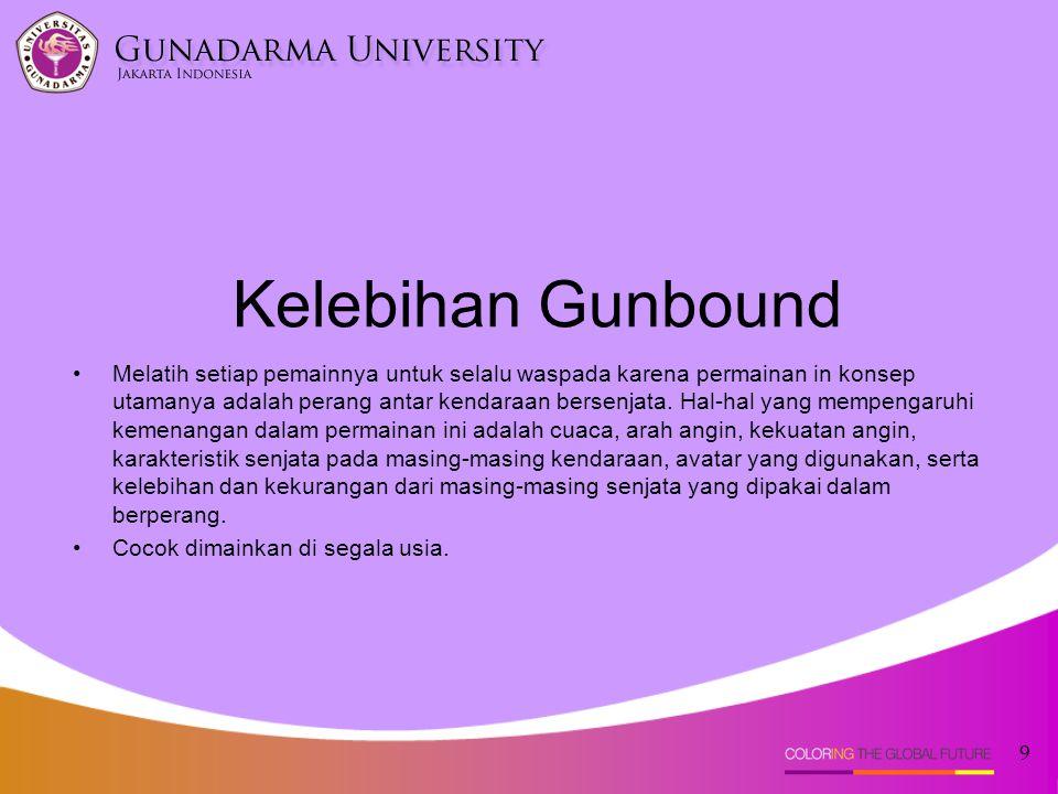 Kelebihan Gunbound •Melatih setiap pemainnya untuk selalu waspada karena permainan in konsep utamanya adalah perang antar kendaraan bersenjata.
