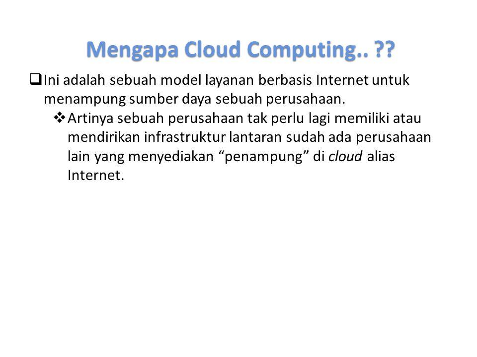 Mengapa Cloud Computing.. ??  Ini adalah sebuah model layanan berbasis Internet untuk menampung sumber daya sebuah perusahaan.  Artinya sebuah perus