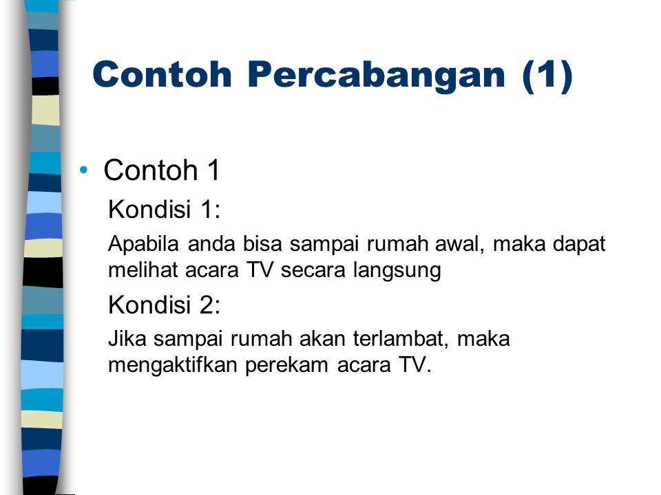 Contoh Percabangan (1) •Contoh 1 Kondisi 1: Apabila anda bisa sampai rumah awal, maka dapat melihat acara TV secara langsung Kondisi 2: Jika sampai ru