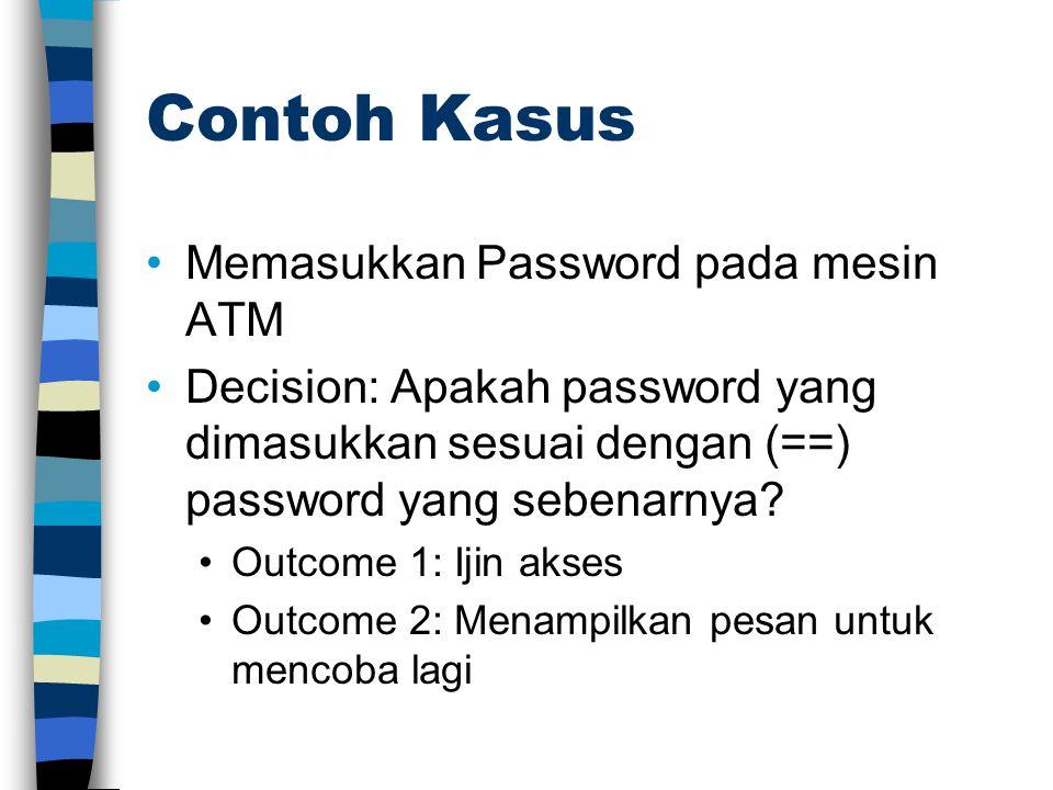 Contoh Kasus •Memasukkan Password pada mesin ATM •Decision: Apakah password yang dimasukkan sesuai dengan (==) password yang sebenarnya? •Outcome 1: I