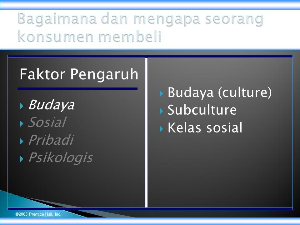 ©2003 Prentice Hall, Inc. Faktor Pengaruh  Budaya  Sosial  Pribadi  Psikologis  Budaya (culture)  Subculture  Kelas sosial