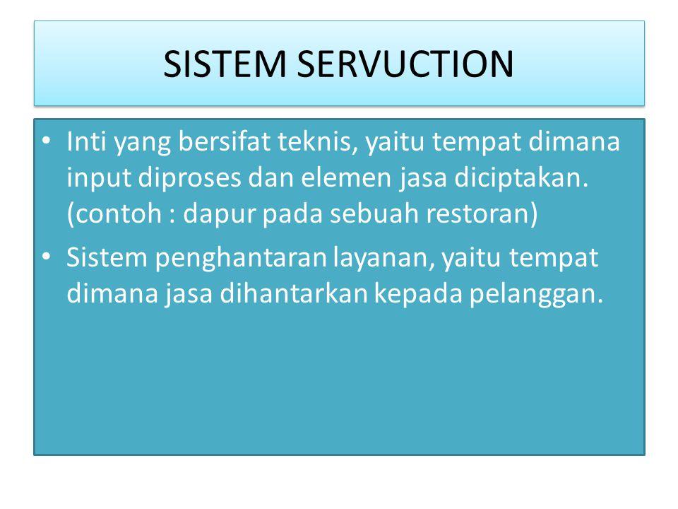 SISTEM SERVUCTION • Inti yang bersifat teknis, yaitu tempat dimana input diproses dan elemen jasa diciptakan. (contoh : dapur pada sebuah restoran) •