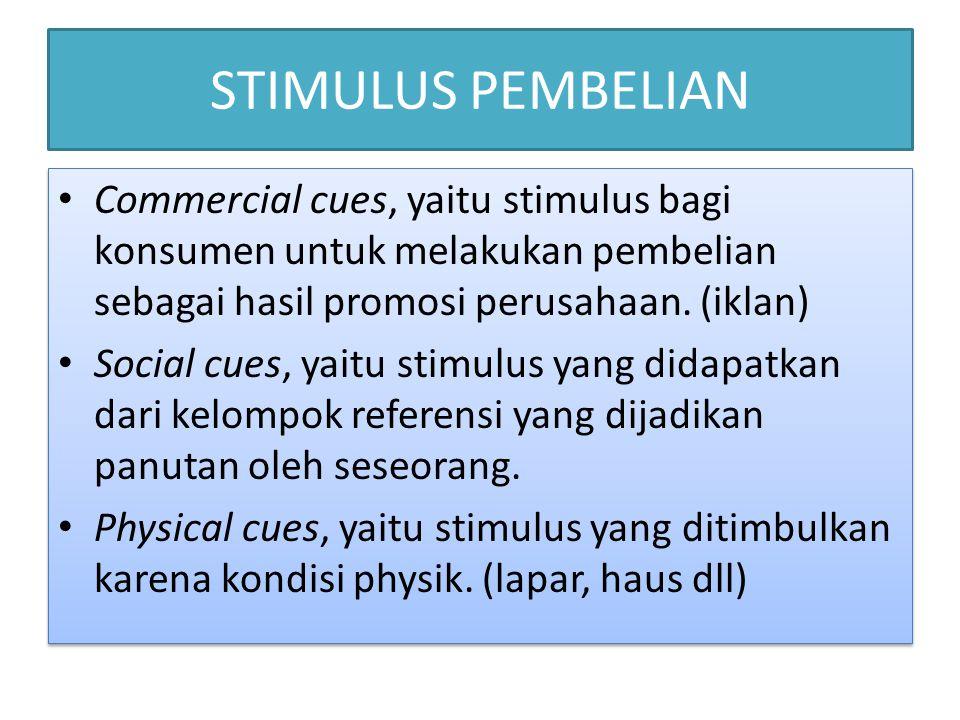 STIMULUS PEMBELIAN • Commercial cues, yaitu stimulus bagi konsumen untuk melakukan pembelian sebagai hasil promosi perusahaan. (iklan) • Social cues,