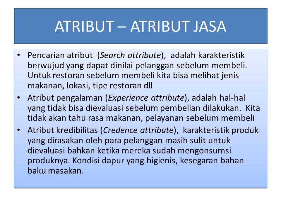 ATRIBUT – ATRIBUT JASA • Pencarian atribut (Search attribute), adalah karakteristik berwujud yang dapat dinilai pelanggan sebelum membeli. Untuk resto