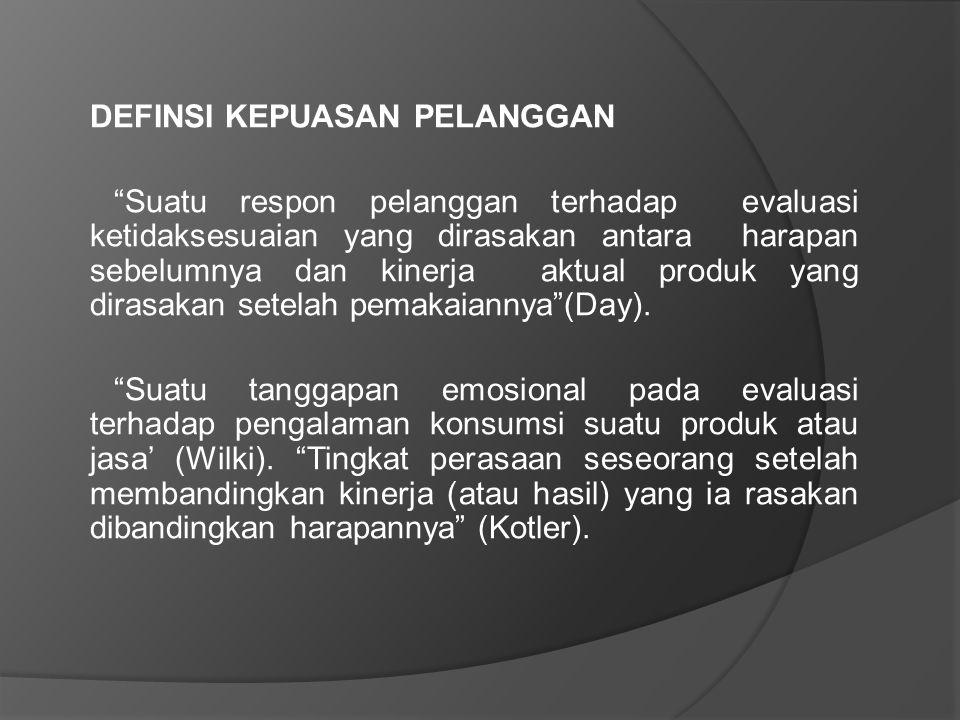 Terdapat lima dimensi kualitas pelayanan yang dapat menjadikan kepuasan pelanggan yaitu : 1.