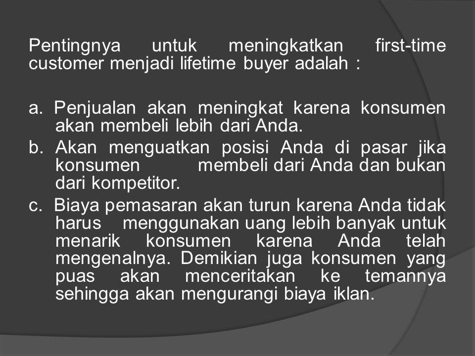 Pentingnya untuk meningkatkan first-time customer menjadi lifetime buyer adalah : a. Penjualan akan meningkat karena konsumen akan membeli lebih dari