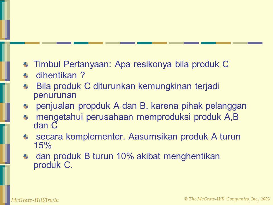 © The McGraw-Hill Companies, Inc., 2003 McGraw-Hill/Irwin Timbul Pertanyaan: Apa resikonya bila produk C dihentikan ? Bila produk C diturunkan kemungk