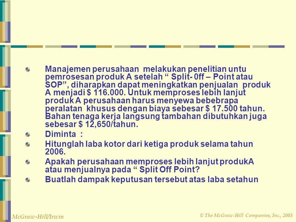 """© The McGraw-Hill Companies, Inc., 2003 McGraw-Hill/Irwin Manajemen perusahaan melakukan penelitian untu pemrosesan produk A setelah """" Split- 0ff – Po"""