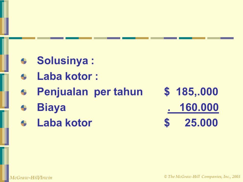 © The McGraw-Hill Companies, Inc., 2003 McGraw-Hill/Irwin Solusinya : Laba kotor : Penjualan per tahun $ 185,.000 Biaya. 160.000 Laba kotor $ 25.000