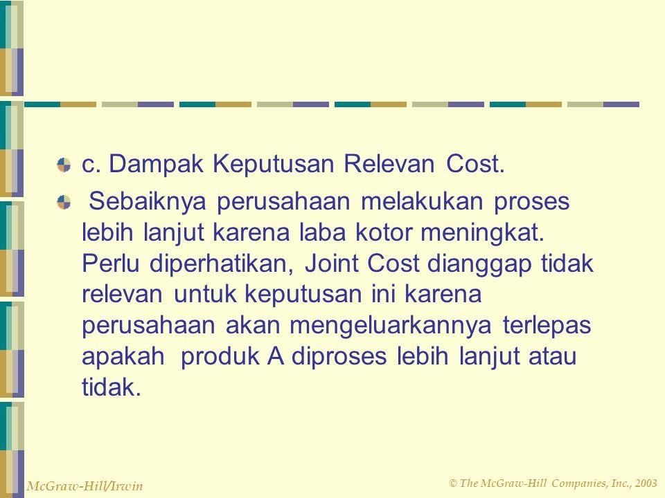 © The McGraw-Hill Companies, Inc., 2003 McGraw-Hill/Irwin c. Dampak Keputusan Relevan Cost. Sebaiknya perusahaan melakukan proses lebih lanjut karena