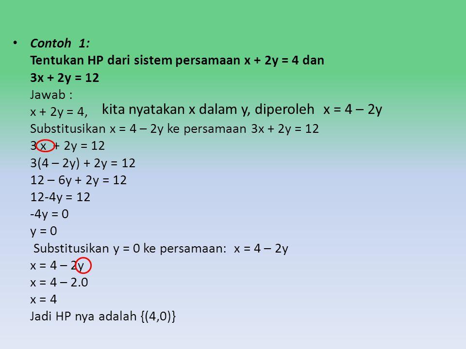 Metode Substitusí Substitusi artinya mengganti. Langkah- langkahnya adalah sebagai berikut : I. Menyatakan variable dalam variable lain, misal menyata