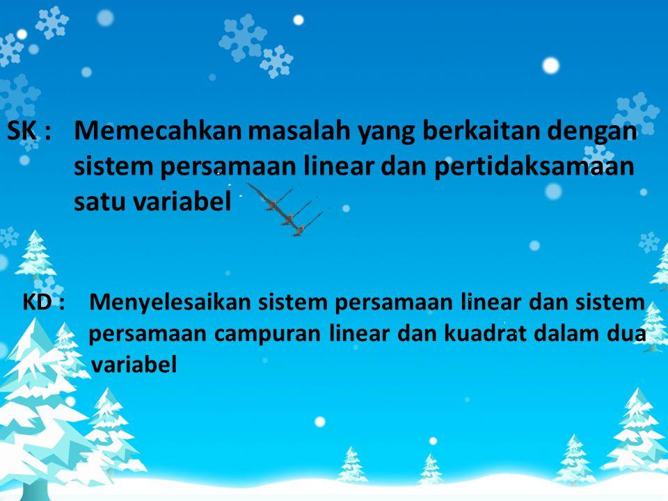 SISTEM PERSAMAAN LINIER SMA/MA KELAS X Presented by : 1.Hario Wijayanto (A 410 080 251) 2.Rizal Adipta Iman (A 410 080 256) 3.Dony Priyatno (A 410 080
