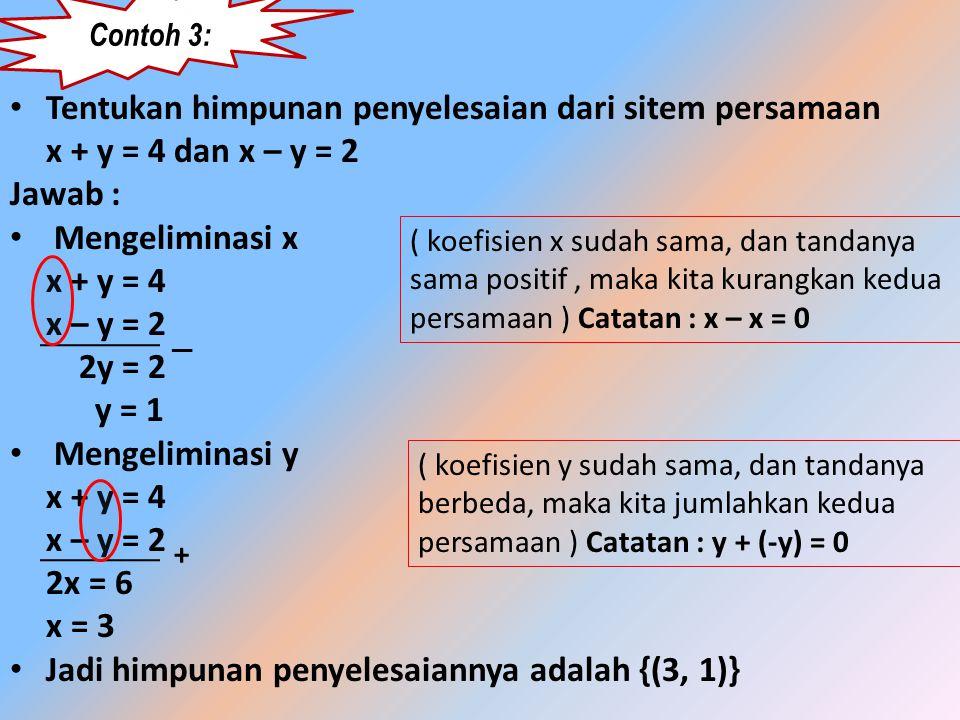 Metode eleminasi • Langkah-langkahnya adalah sebagai berikut : i. Nyatakan kedua persamaan ke bentuk ax + by = c ii. Samakan koefisien dari variabel y