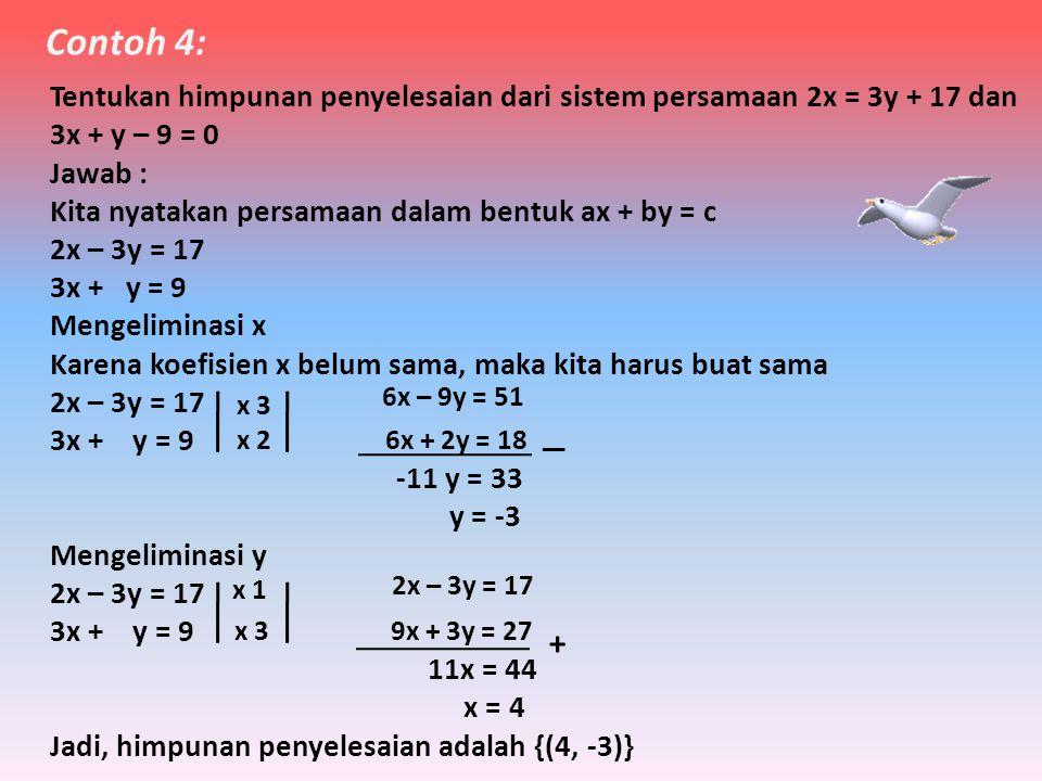 •T•Tentukan himpunan penyelesaian dari sitem persamaan x + y = 4 dan x – y = 2 Jawab : • Mengeliminasi x x + y = 4 x – y = 2 2y = 2 y = 1 engeliminasi y x + y = 4 x – y = 2 2x = 6 x = 3 •J•Jadi himpunan penyelesaiannya adalah {(3, 1)} Contoh 3: ( koefisien x sudah sama, dan tandanya sama positif, maka kita kurangkan kedua persamaan ) Catatan : x – x = 0 — ( koefisien y sudah sama, dan tandanya berbeda, maka kita jumlahkan kedua persamaan ) Catatan : y + (-y) = 0 +