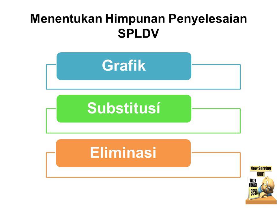 PENGERTIAN • Sistem Persamaan Linear Dua Variabel (SPLDV) terdiri atas dua persamaan linear dua variable, yang keduanya tidak berdiri sendiri, sehingg