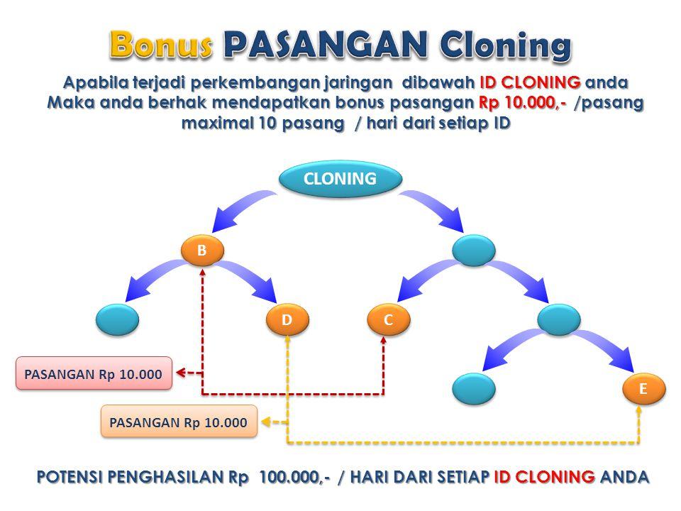 Apabila terjadi perkembangan jaringan dibawah ID CLONING anda Maka anda berhak mendapatkan bonus pasangan Rp 10.000,- /pasang maximal 10 pasang / hari