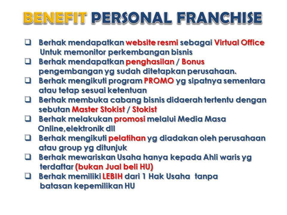  Berhak mendapatkan website resmi sebagai Virtual Office Untuk memonitor perkembangan bisnis Untuk memonitor perkembangan bisnis  Berhak mendapatkan