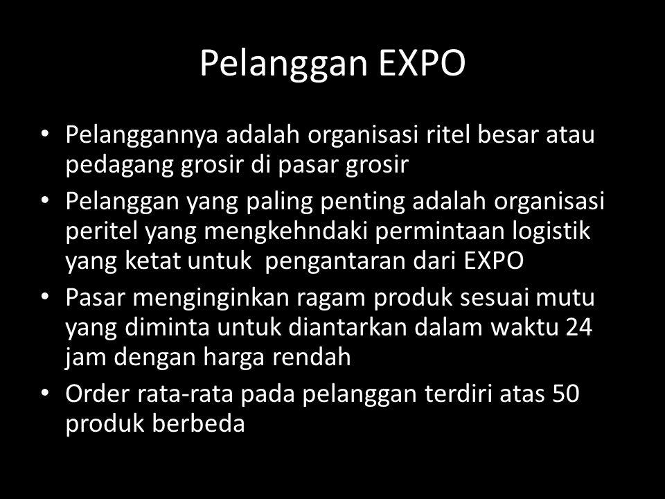 Pelanggan EXPO • Pelanggannya adalah organisasi ritel besar atau pedagang grosir di pasar grosir • Pelanggan yang paling penting adalah organisasi peritel yang mengkehndaki permintaan logistik yang ketat untuk pengantaran dari EXPO • Pasar menginginkan ragam produk sesuai mutu yang diminta untuk diantarkan dalam waktu 24 jam dengan harga rendah • Order rata-rata pada pelanggan terdiri atas 50 produk berbeda