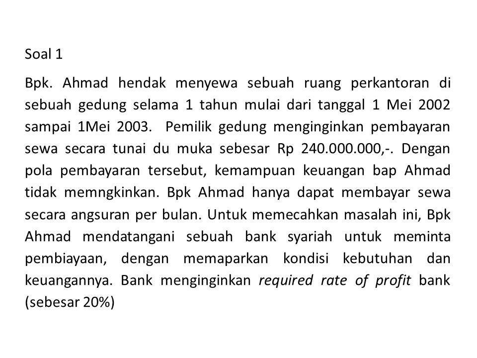 Soal 1 Bpk. Ahmad hendak menyewa sebuah ruang perkantoran di sebuah gedung selama 1 tahun mulai dari tanggal 1 Mei 2002 sampai 1Mei 2003. Pemilik gedu