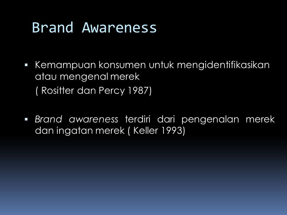 Brand Awareness  Kemampuan konsumen untuk mengidentifikasikan atau mengenal merek ( Rositter dan Percy 1987)  Brand awareness terdiri dari pengenala