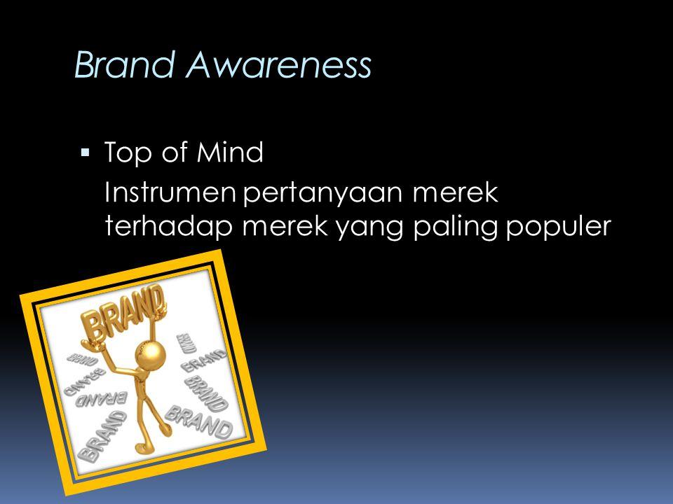 Brand Awareness  Top of Mind Instrumen pertanyaan merek terhadap merek yang paling populer
