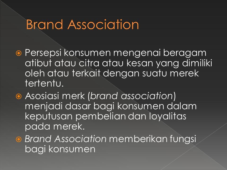  Persepsi konsumen mengenai beragam atibut atau citra atau kesan yang dimiliki oleh atau terkait dengan suatu merek tertentu.  Asosiasi merk (brand
