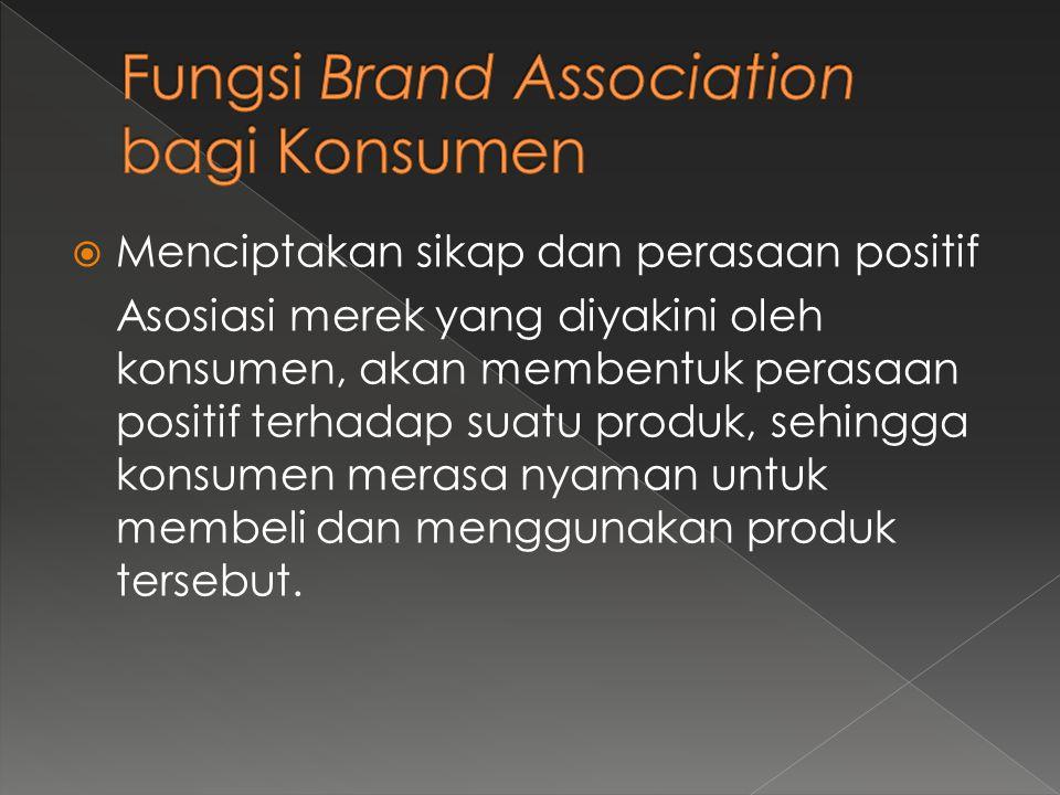  Menciptakan sikap dan perasaan positif Asosiasi merek yang diyakini oleh konsumen, akan membentuk perasaan positif terhadap suatu produk, sehingga k