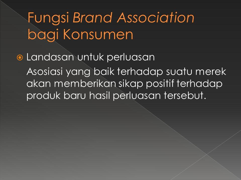  Landasan untuk perluasan Asosiasi yang baik terhadap suatu merek akan memberikan sikap positif terhadap produk baru hasil perluasan tersebut.