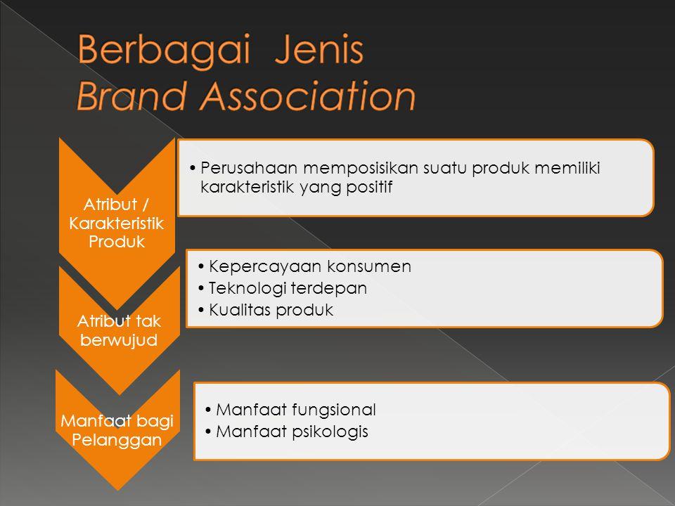 Atribut / Karakteristik Produk •Perusahaan memposisikan suatu produk memiliki karakteristik yang positif Atribut tak berwujud •Kepercayaan konsumen •T