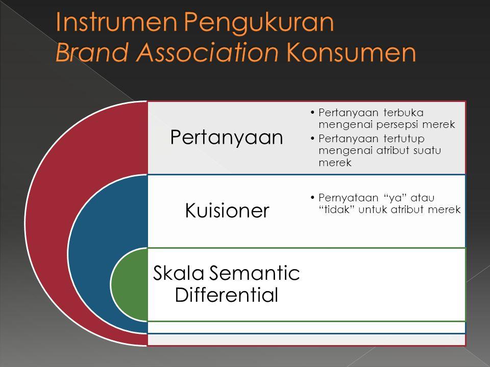 Pertanyaan Kuisioner Skala Semantic Differential •Pertanyaan terbuka mengenai persepsi merek •Pertanyaan tertutup mengenai atribut suatu merek •Pernya