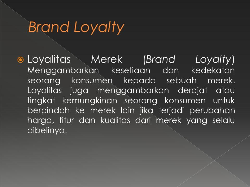  Loyalitas Merek (Brand Loyalty) Menggambarkan kesetiaan dan kedekatan seorang konsumen kepada sebuah merek. Loyalitas juga menggambarkan derajat ata