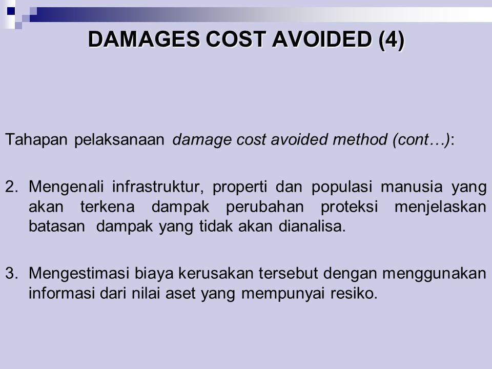 DAMAGES COST AVOIDED (4) Tahapan pelaksanaan damage cost avoided method (cont…): 2.Mengenali infrastruktur, properti dan populasi manusia yang akan te