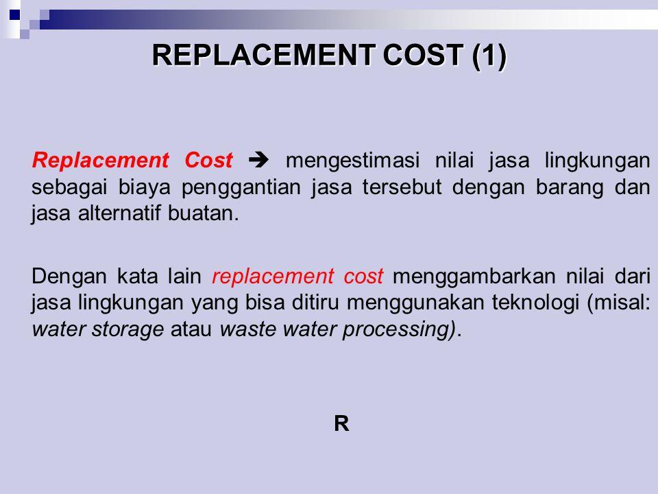 REPLACEMENT COST (1) Replacement Cost  mengestimasi nilai jasa lingkungan sebagai biaya penggantian jasa tersebut dengan barang dan jasa alternatif b