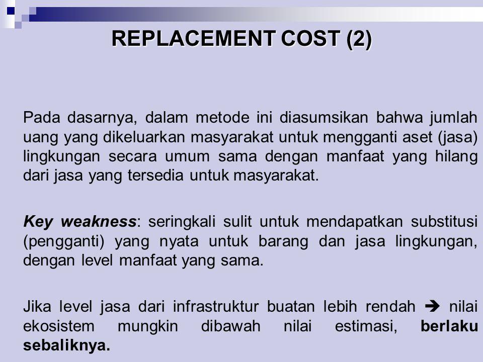 REPLACEMENT COST (2) Pada dasarnya, dalam metode ini diasumsikan bahwa jumlah uang yang dikeluarkan masyarakat untuk mengganti aset (jasa) lingkungan