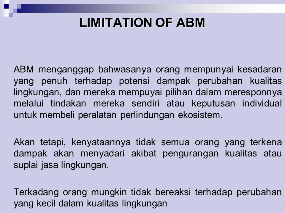 LIMITATION OF ABM ABM menganggap bahwasanya orang mempunyai kesadaran yang penuh terhadap potensi dampak perubahan kualitas lingkungan, dan mereka mem