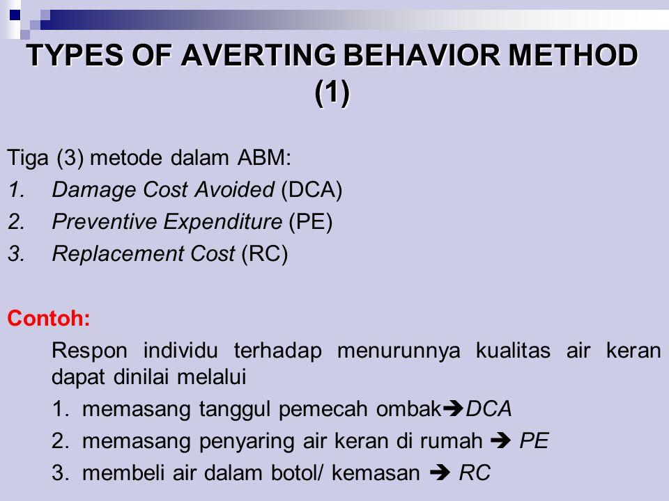 TYPES OF AVERTING BEHAVIOR METHOD (1) Tiga (3) metode dalam ABM: 1.Damage Cost Avoided (DCA) 2.Preventive Expenditure (PE) 3.Replacement Cost (RC) Con