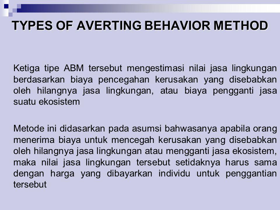 TYPES OF AVERTING BEHAVIOR METHOD Ketiga tipe ABM tersebut mengestimasi nilai jasa lingkungan berdasarkan biaya pencegahan kerusakan yang disebabkan o
