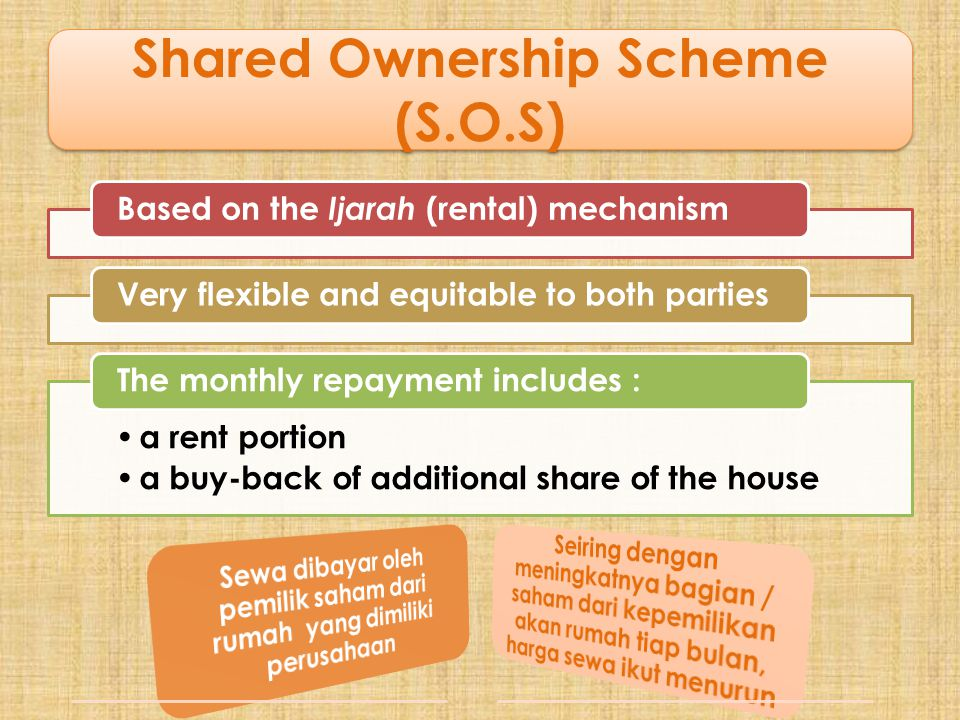 Shared Ownership Scheme (S.O.S) Based on the Ijarah (rental) mechanism Very flexible and equitable to both parties • a rent portion • a buy-back of ad